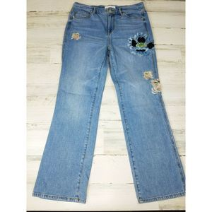 LOFT Vintage Straight Embroidered Floral Jeans